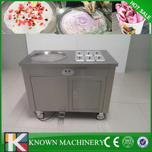 Best seller single round pan with 6 cooling food tanks fry ice cream machine thailand 110v/220v