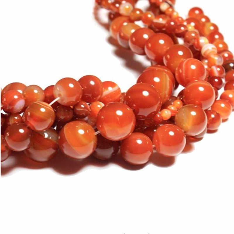 4 6 8 10 12 14 mm טבעי אדום פסים Agates אבן חרוזים עגול Loose חרוזים DIY תכשיטי צמיד שרשרת ביצוע 15 ''HK176