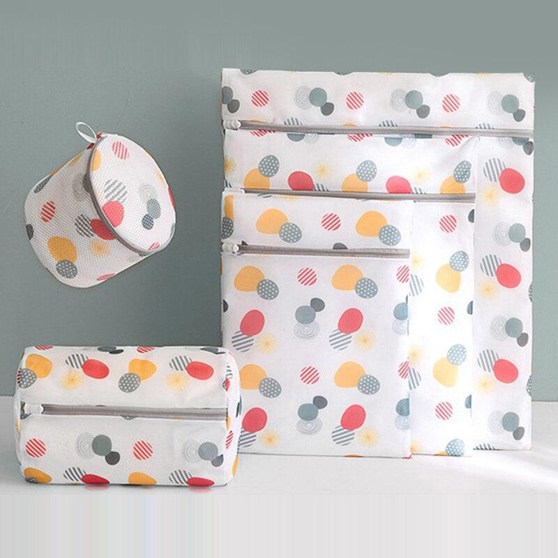 6 Size Zippered Mesh Laundry Washing Bags Foldable Lingerie Bra Socks Underwear Washing Machine Clothes Protection Net Bag
