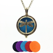 1pc Vintage Bronze Creative Dragonfly Design Copper Magnet Locket Essential Oil Perfume Diffuser Trendy Pendant Necklace Jewelry