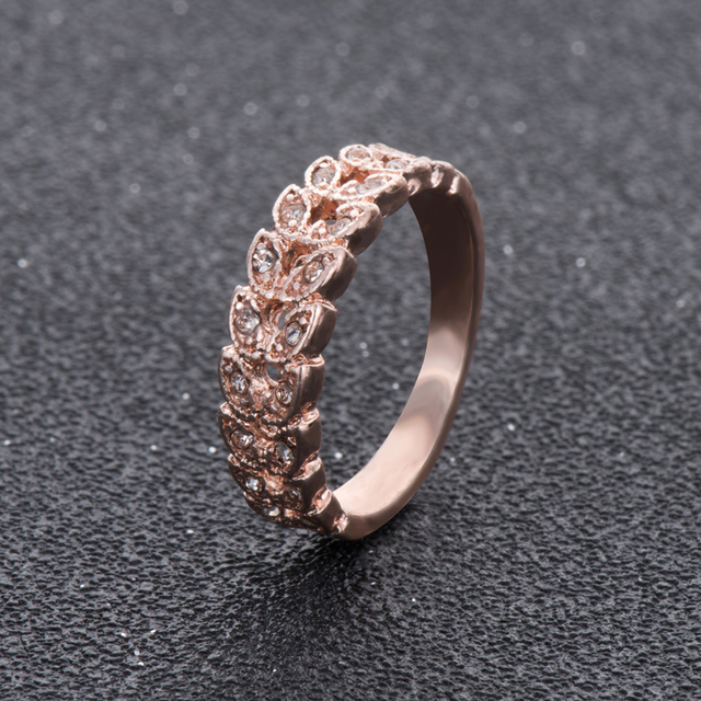 Rose Gold Color Leaves Rings