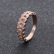 NJ92 Hot Sale Rose Gold Color Leaves Rings Rhinestones Crystal Rings For Women High Quality Fashion Wedding Jewelry Wholesale(China)