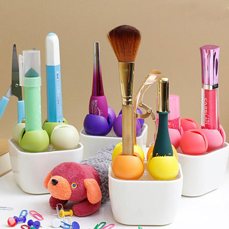 New Table Office Storage Multifunctional Candy Colors Plastic Desktop Rack Makeup Organizer Flower Type