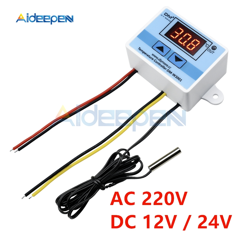 10A 12V 24V 220V LED Digital Temperature Controller W3001 Thermometer Thermo Controller Regulator Switch Probe NTC Sensor 10K