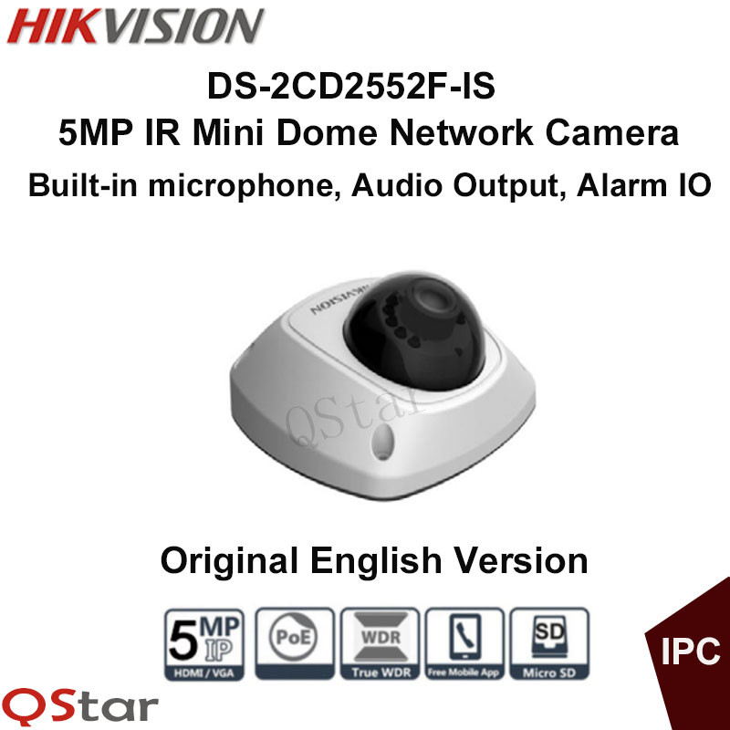 Hikvision Original English Version DS-2CD2552F-IS 5MP Mini Dome IR Network IP Camera Full HD 1080P POE Audio CCTV Camera 16pcs lot hikvision ds 2cd2735f is ip camera 3mp full hd ip66 dome camera water proof poe power network ir