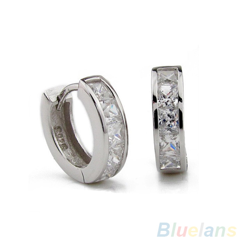 Bluelans Fashion Silver Plated Small Round Square Crystal Hoop Huggie Earrings Men 1OY1