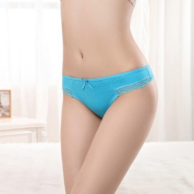 Pak 12 Lace Potong Gadis Katun G-String Low Rise Thong Celana Dalam Wanita  seksi 368a38b55d