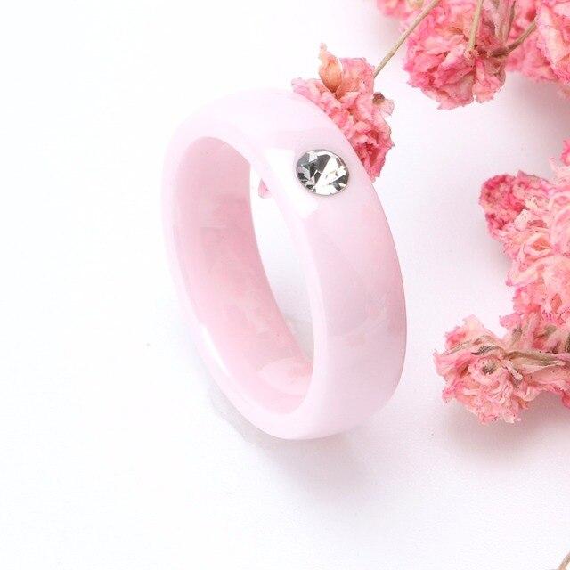 2018 Rosa Anelli di Ceramica Per Le Donne Anelli In Ceramica Bling CZ Pietra Anelli di Nozze di Ceramica dei monili di Costume All'ingrosso
