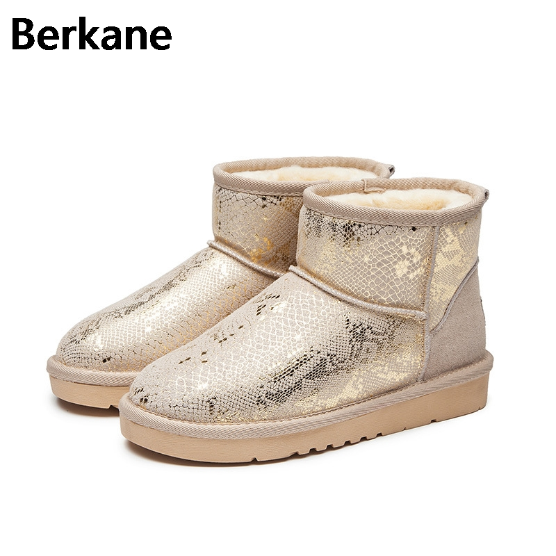 Sequined Glossy Snow Boots Women Australia Wool Brand Waterproof Winter Warm Glitter Fur Short Ankle Boots Plush Flats Botas Hot