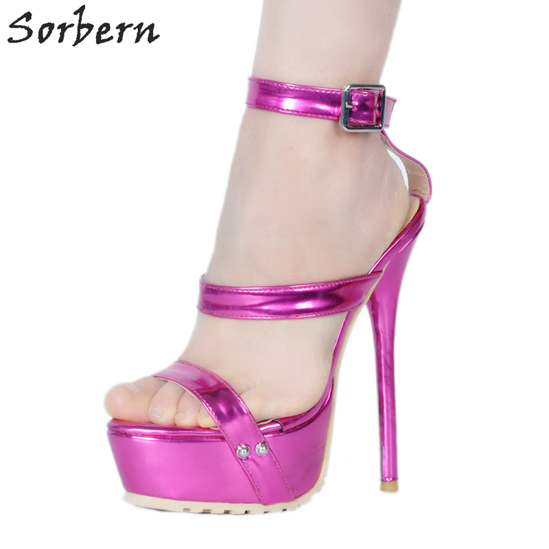 Sorbern Hot Pink Ankle Straps Ladies Sandals Night Club Sexy High Heels Ladies Shoes Women Casual 2018 Platform Summer Sandals ann major the hot ladies murder club