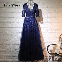 It's Yiiya Dark Blue V Neck Half Sleeve Dresses Fashion Floor Length Formal Evening Dresses Honorable Appli Dress LX139