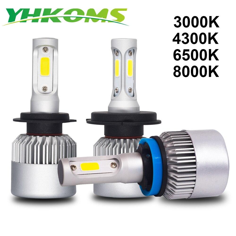 YHKOMS H4 H7 LED H8 H11 H1 H3 9005 9006 880 881 H27 3000 K 4300 K 6500 K 8000 K Faro Dell'automobile LED Auto Luce di Nebbia S2 C0B Faro 12 V