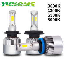 YHKOMS H4 H7 LED H8 H11 H1 H3 9005 9006 880 881 H27 3000K 4300K 6500K 8000K Car Headlight LED Auto Fog Light S2 C0B Headlamp 12V(China)