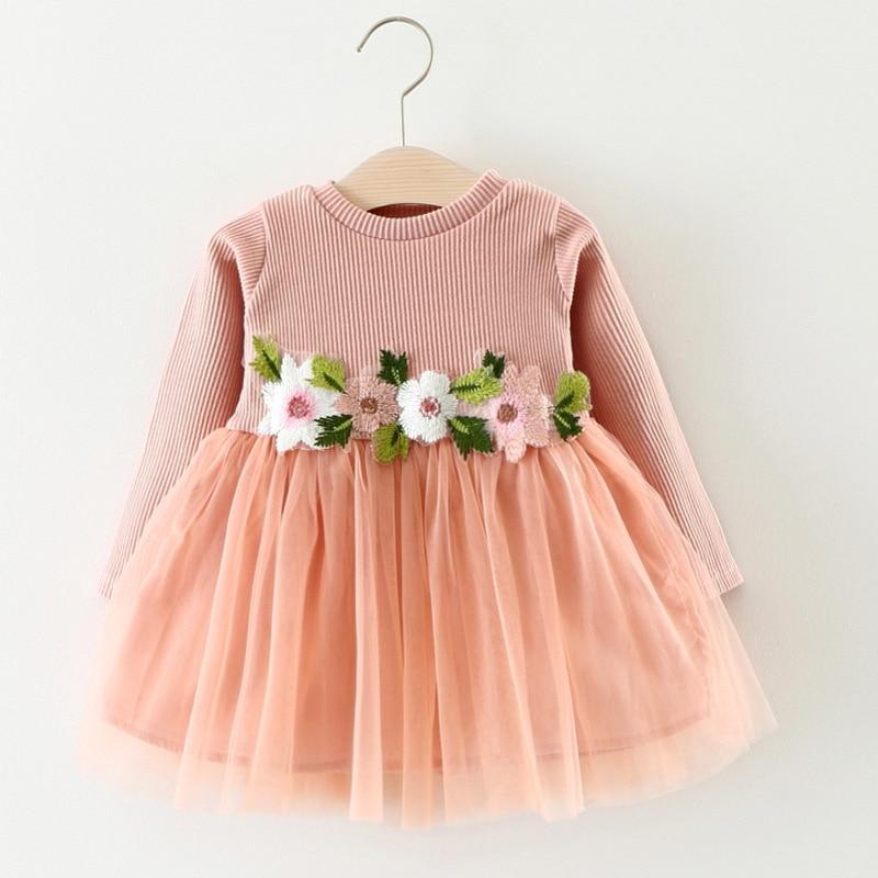 Flower Newborn Princess Dress 2018 New Long Sleeve Baby Girls Dresses Solid Spring Infant Clothing O-neck Baby Dress