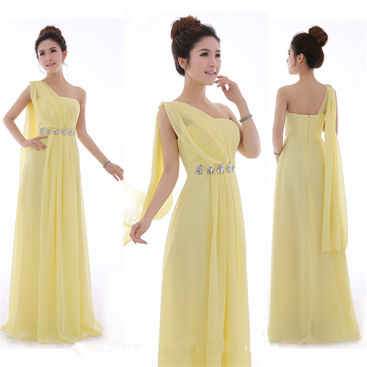 Us 21 79 5 Off Long Mint Green Bridesmaid Dress One Shoulder High Quality Chiffon Party Dresses Light Yellow Under 50 In