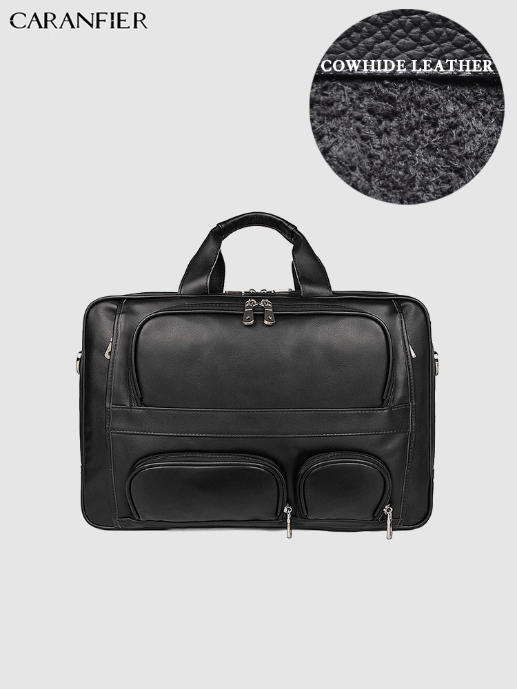 CARANFIER Mens Briefcases Genuine Cowhide Leather Handbags Businessman Document Crossbody Bags 17 Inches Totes Computer Bags