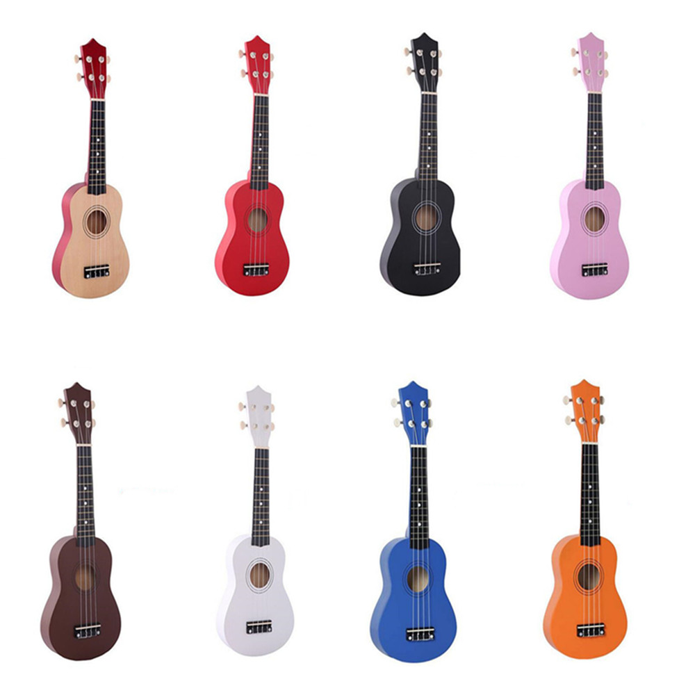 "21""Multi-colour Ukulele Fun Wooden 4 Strings Acoustic Bass Guitar Musical Concert Instrument Kids Toy For Beginners Basic Player(China)"