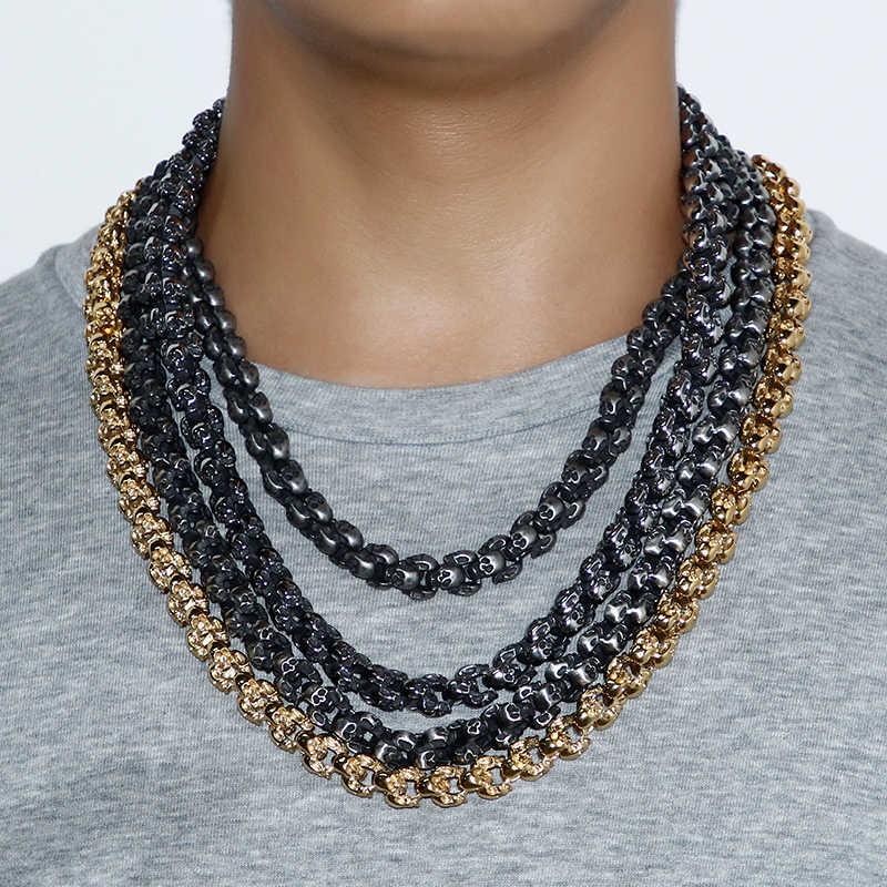 Kalen панк 55 ~ 70 см длинные ожерелья с черепами для мужчин Нержавеющая сталь Матовый полированный Шарм звенья цепи мужские готические ювелирные изделия 2018