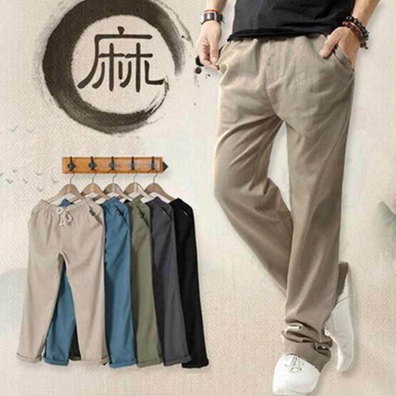 Summer Linen Robe Super Ventilate Men Casual Wear Pants Comfort/2019 men high-grade tourism movement  pants/Asian M- 4XL