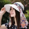 2016 Nuevos Sombreros de Sun Para Las Mujeres Dama de La Moda de Verano Sombrero de Visera Casquillo de La Playa Femenino Flor de Prevención De la Radiación Ultravioleta