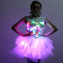 LZ09 этап светящиеся Костюмы ночные клубы бар Сексуальные Для женщин носит LED костюмы освещенные платья бальных танцев певица ткань юбки LED