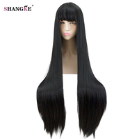 SHANGKE Long Straight Black Wig With Bangs Heat Resistant Synthetic Cosplay Wigs Costume Party Hair For