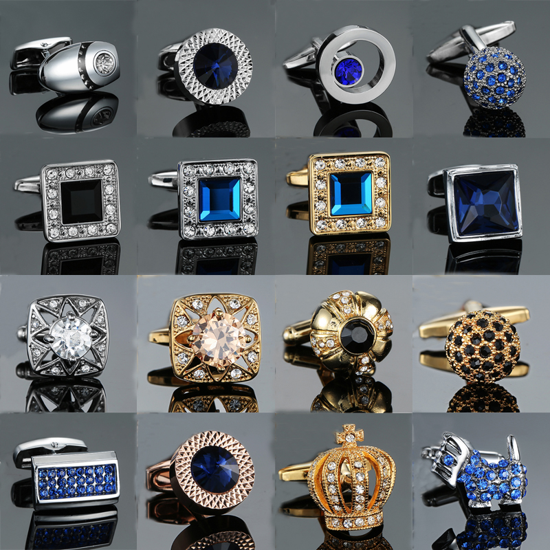 Cufflinks Shirt Crown Crystal Novelty White High-Quality Mens Luxury Brand Gold Blue