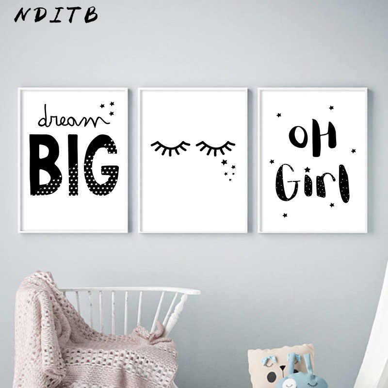 NDITB для маленьких девочек настенная живопись садик Холст плакат минималистический черно-белый Принт картина Nordic детское украшение изображение Украшения в спальню