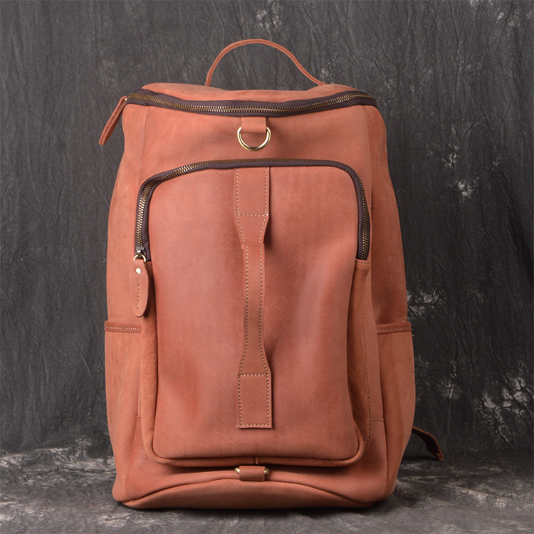 Fashion new first layer of leather mens shoulder bag leather travel mountaineering backpack shoulder diagonal luggage ba