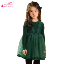 Green Long Sleeve Flower Girls Dress For Party Spring Winter Pagaent Dress First Cummuntion Gowns ZF057(China)