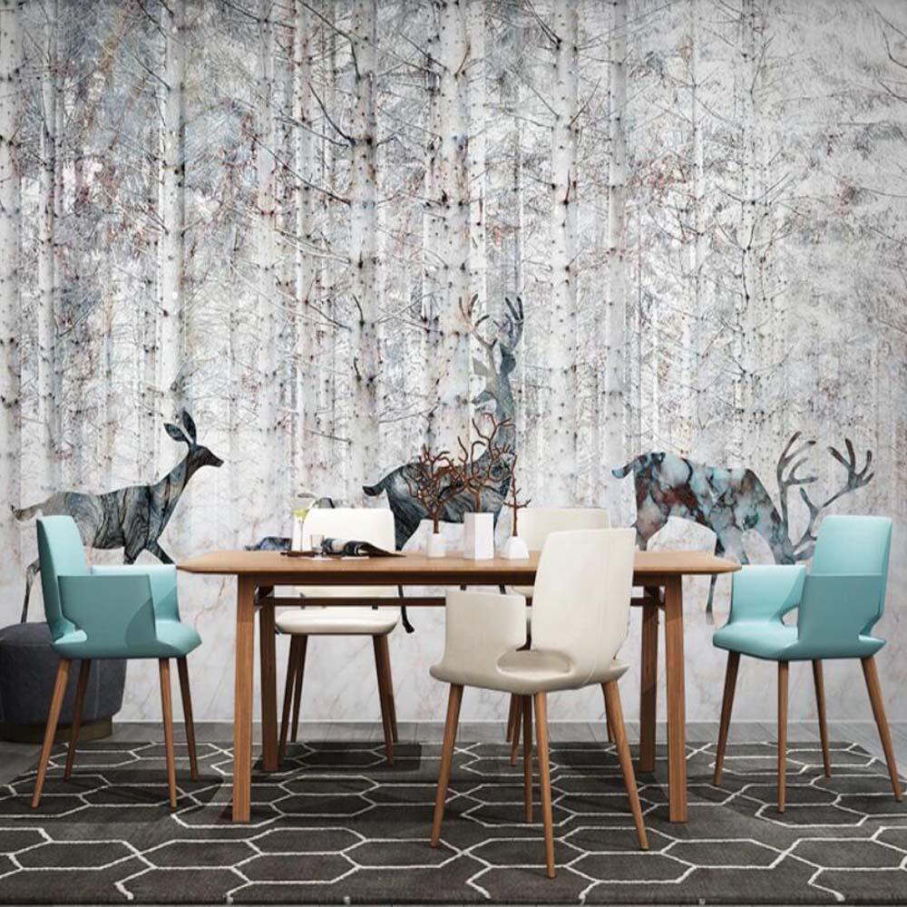 Nordic Abstract Forest ELK Animal Wallpaper Murals Modern