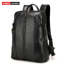MAGIC UNION Men s Patent Leather Backpacks Fashion Bag for Men Business Travel Mochila Zip Men