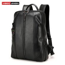 Magic union hombres mochilas de viaje mochila bolso de la manera para los hombres de negocios de charol con cremallera hombres mochila portátil bolsas impermeables
