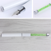 1Pc Nail Art Tool Dotting Pen Painting Drawing Pen Green Rhinestone Handle Manicure Nail Tool