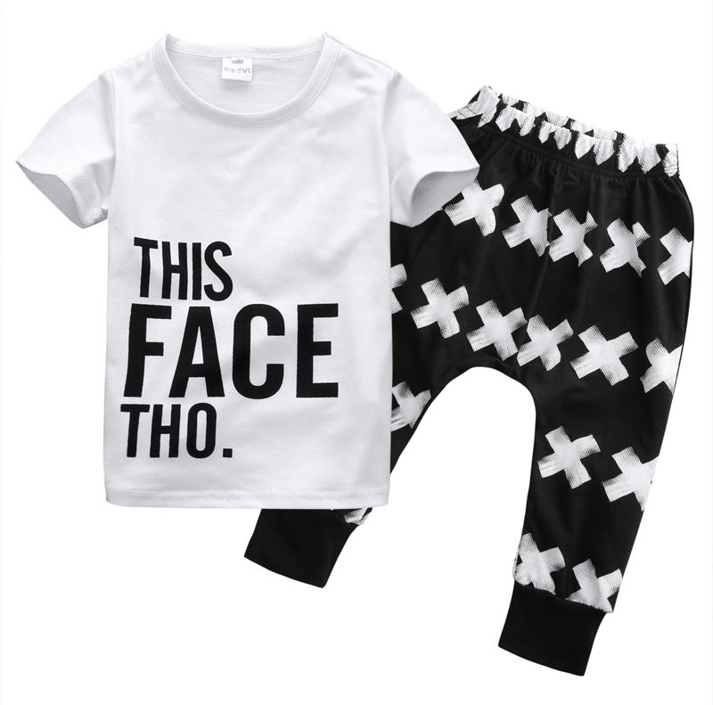 2016 Summer Baby Boy Clothing 2pcs Casual T-shirt Tops + Harem Clothes Sets Toddler Letter White Cotton Pants Clothes Boys 0-5Y number series no 5 print toddler boy shirts 2016 baby boys t shirt brand designer t shirt summer boys clothes children s tops