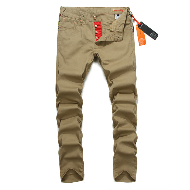Button Pants Men Slim Fit Denim Khaki Trousers Mix Print Superably Brand Jeans Trousers With Logo