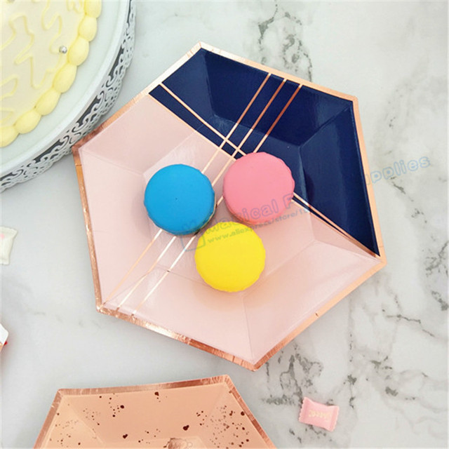 24pcs Blush Pink Paper Plates Navy Blue and Rose Gold Party Decor Girl First Birthday Dessert & 24pcs Blush Pink Paper Plates Navy Blue and Rose Gold Party Decor ...