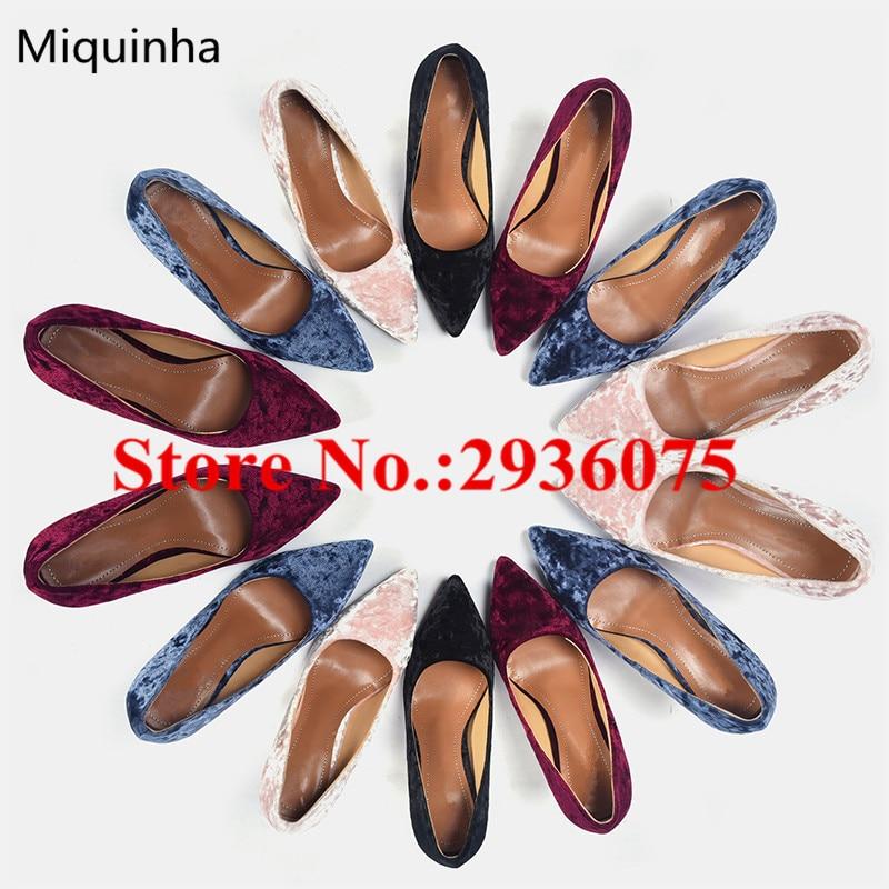 Sapato Feminino 2017 Fashion New Dress High Heeled Zapatos Mujer Pointed Toe Slip-On Velvet Sexy Women Shoes Shallow Shoes Woman sapato
