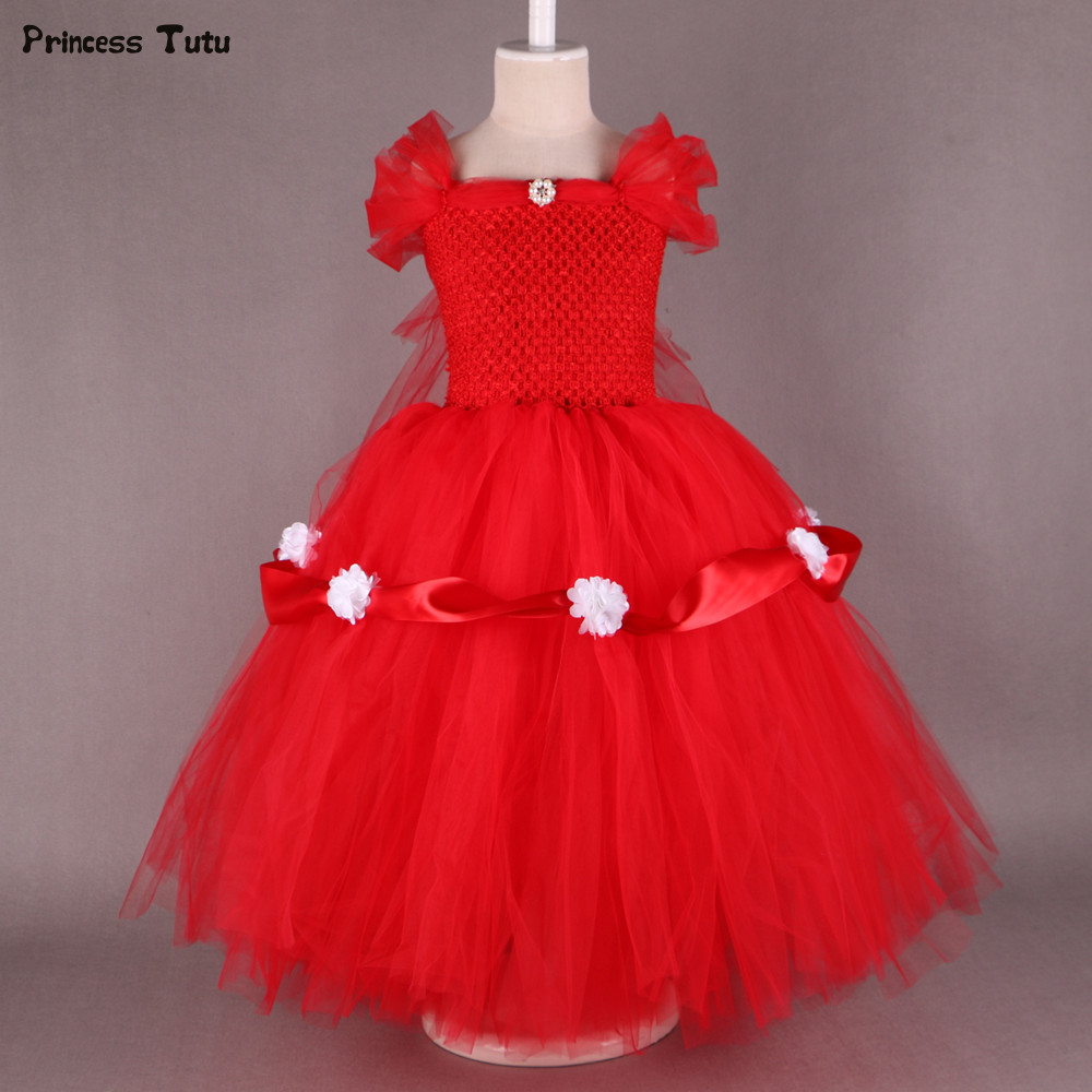 1-14Y Princess Belle Dress Tulle Flower Girl Tutu Dress Yellow,Red Kids Girl Party Pageant Wedding Ball Gown Dresses Robe Enfant