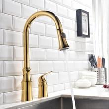 Смеситель для кухни вытащить бортике Pull поворотный 360 градусов вращающийся холодной и горячей водопроводной золото torneira dourada смесителя