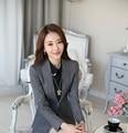 Formal OL Styles Novelty Grey Blazer Women Blaser Jackets 2016 Spring Fall Ladies Work Office Uniform Design Blazers Tops