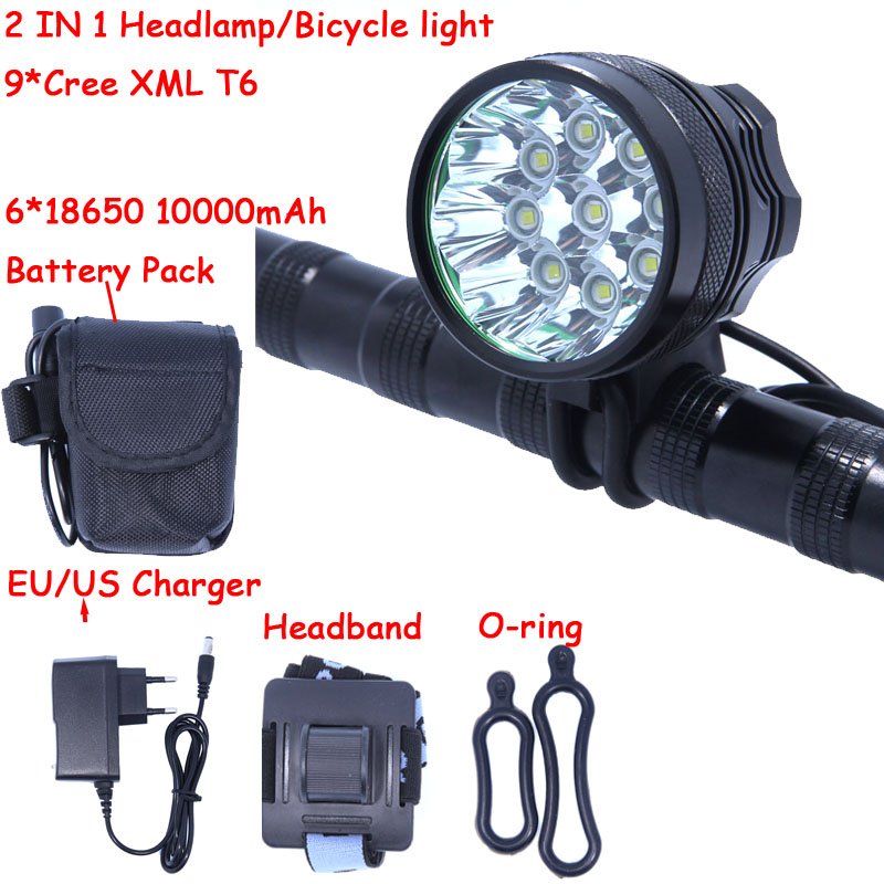 Bike Light 9 * Cree XM-L T6 3 Modes 14000LM Front Bicycle Headlight Headlamp Head Lamp Super Power with Battery Pack & Charger 6 cree xm l t6 3 modes 8000lm headlight headlamp bicycle light bike light super power 6t6 for bike with battery pack charger