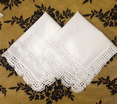 Set Of 12 Fashion Hankerchiefs 12-inch White Cotton  Wedding Hankies Sweet Heart Vintage Lace Edging Hanky For Bride