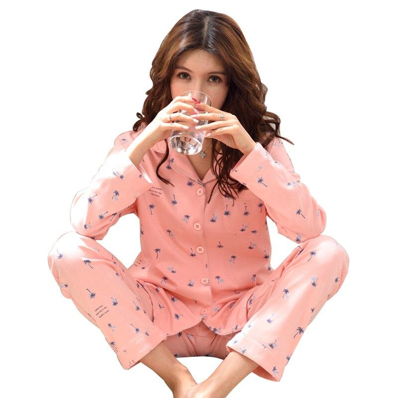 В оптовая продажа с фабрики Лидер продаж Весна 100% хлопок Для женщин пижамный комплект с длинным рукавом отложной воротник женская обувь для...