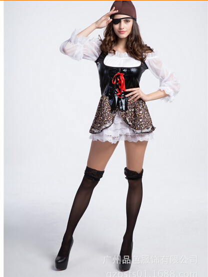 cosplay party pirates of the Caribbean clothes red women sexy uniform adult hot carnival halloween costume dress&hat&eyeshade