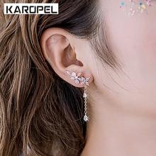 Korean Zircon Leaf Flower Branches Sweet White Crystal Stud Earrings For Women Fashion Ear Piercing Wedding Party Gift