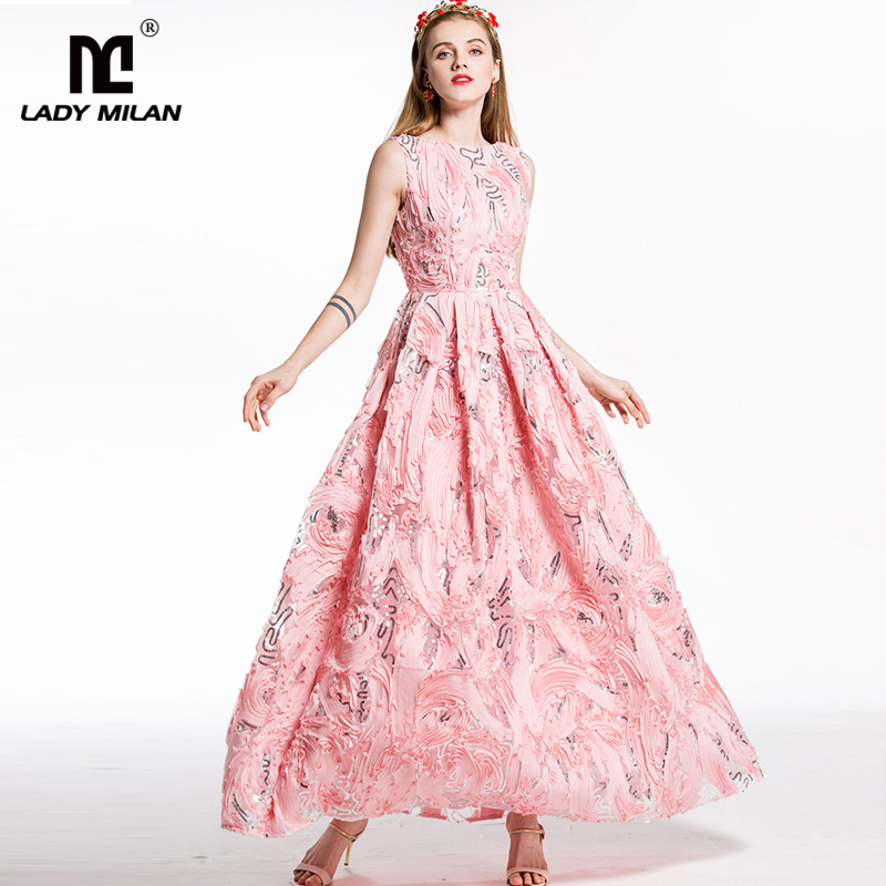 цены New Arrival 2018 Women's O Neck Sleeveless Appliques Sequined Floral Elegant Designer Party Prom Long Ball Gown Runway Dresses