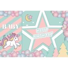 Laeacco Happy Birthday Balloon Unicorn Part Children Cartoon Scene Photographic Background Photography Backdrop For Photo Studio