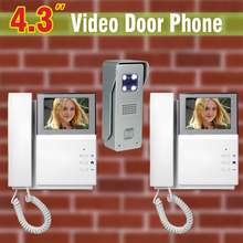 4.3 inch LCD Screen Video Door Phone Intercom System Aluminum Alloy Camera Video Doorbell Intercom Video Door bell 1V2