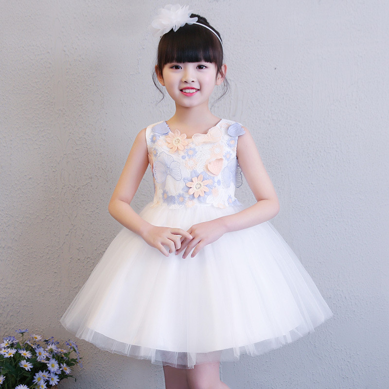 Flower Girl Dresses Princess Sleeveless Cheap Children Clothes Floral Birthday Party Dress for Girls Kids Wedding Tutu Vestido 4 8y retail dress for girls baby girl children tutu dresses princess party dresses vestidos kids girls clothes neat sh5460 mix